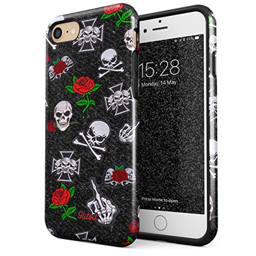Glitbit Compatible with iPhone 7 iPhone 8 Case Embroidered Red Rose Skulls Floral Patches Rockstar Skeleton Biker Gangsta Gangster Bitch Shockproof Dual Layer Hard Shell + Silicone Protective Cover