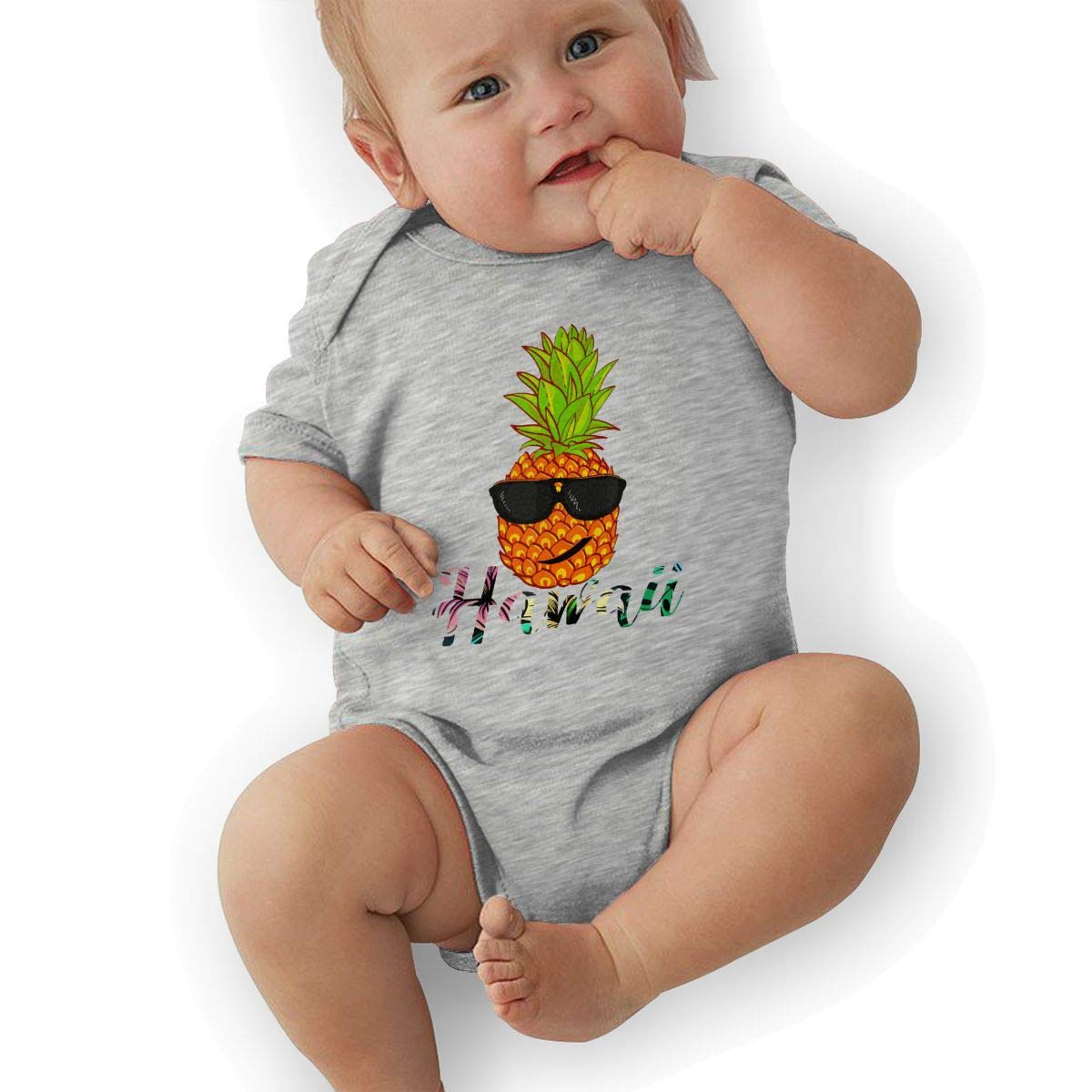 Hawaii Pineapple Head with Sunglass Baby Boys Girls Jumpsuit Overall Romper Bodysuit Summer Clothes Gray