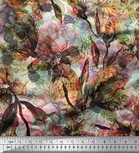 Cotton Voile Texture - Soimoi Orange Cotton Voile Fabric Floral & Texture Print Fabric by The Yard 56 Inch Wide