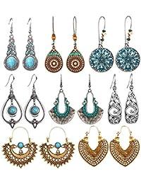 8 Pairs Vintage Statement Drop Dangle Earrings Bohemian National Style Hollow Water Drop Heart Shaped Alloy Long Boho Dangle Earrings for Women Girls