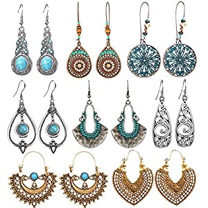 SUNNYOUTH 8 Pairs Vintage Statement Drop Dangle Earrings Bohemian National Style Hollow Water Drop Heart Shaped Alloy Long Boho Dangle Earrings for Women Girls