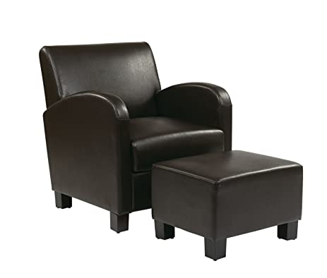 OFFICE STAR MET807 Faux Leather Club Chair With Ottoman (Expresso)