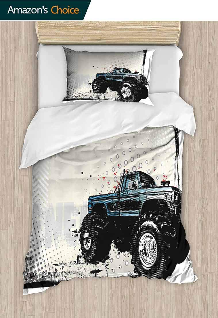 Truck Printed Quilt Cover and Pillowcase Set, Halftone Pattern Background with Color Splashed Frame and Monster Truck Motif, 2 Piece Bedding Quilt Coverlets - 100% Cotton Bed Quilts Coverlet