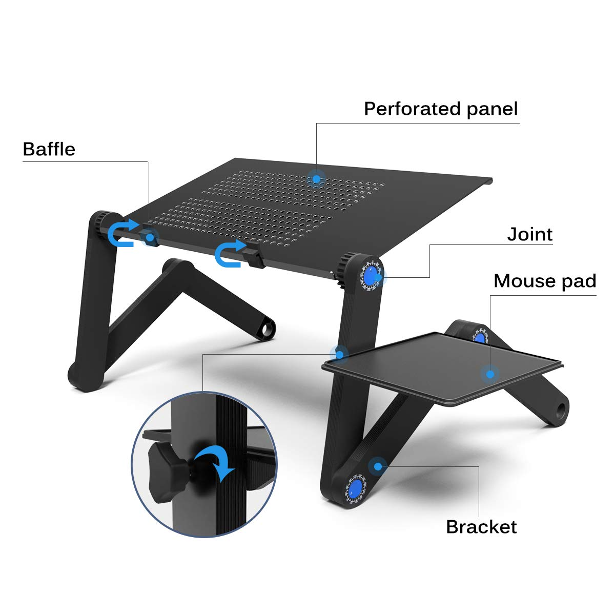 Adjustable Laptop Desk Bed Stand 23.2 Laptop Stand for Bed Couch Sofa Foldable Laptop Table Portable with Cooling /& Fan Mouse Pad Lightweight Portable Bed Sofa Couch Lap Tray Compatible with Tablet Notebook MacBook