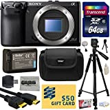 Sony NEX-7 NEX7 NEX7/B Compact 24.3 MP Mirrorless Interchangeable Lens Camera - (Body Only) with Best Value Accessories Bundle Kit includes includes 64GB Class 10 SDHC Memory Card + Replacement (1200mAh) NP-FW50 Battery + Professional 60 Inch Photo/Video Tripod + Hard Shell Carrying Case + High Speed USB Reader/Writer + HDMI Cable + Camera Lens Cleaning Kit + Bonus $50 Gift Card for Digital Prints