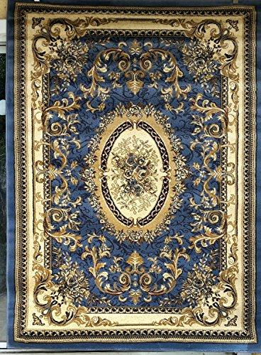 - Deir Debwan Traditional Aubusson Area Rug Persian Blue Design #602 (7ft9in.X10ft)