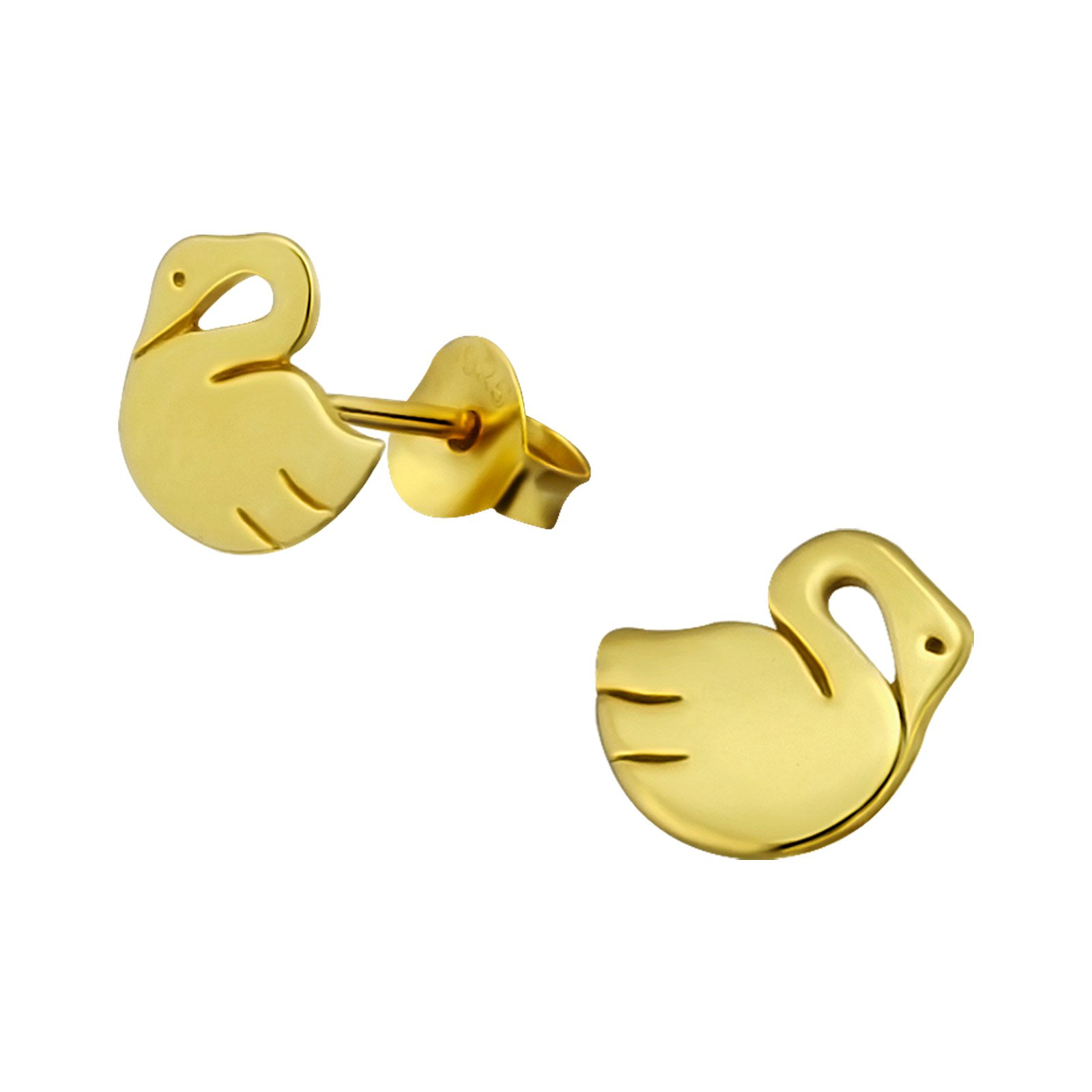 Hypoallergenic Gold Plated Swan Stud Earrings for Girls (Nickel Free and Safe for Sensitive Ears)