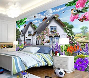 3D hermosa casa jardín perro naturaleza paisaje cartel decoración de la pared pintura niños habitación dormitorio fondo foto papel pintado mural-400X280cm: Amazon.es: Bricolaje y herramientas