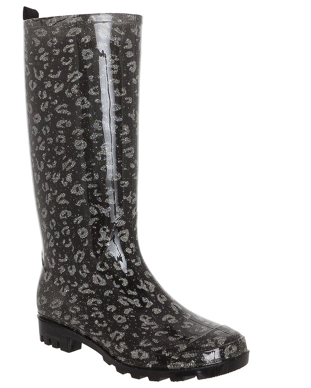 Capelli New York Shiny Glitter Printed Leopard Jelly Rain Boot