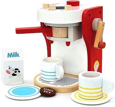 yoptote 17111- Kinderrollenspiele Kaffeemaschine aus Holz Spielzeugküche  Zubehör, inkl. 2 Tasse, Milchbox und 1x Kaffeepad für Kinder 3 4 Jahre Alt  ...