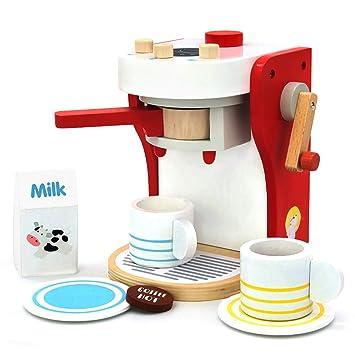 yoptote Juguetes de Madera Comida Alimentos Utensilios Cocina Juguete - Bebe Madera Cafetera - Regalos para Cumpleaños Infantiles