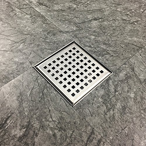 4in Drain (Neodrain Square Shower Drain with Removable Quadrato Pattern Grate, 4-Inch, Brushed 304 Stainless Steel, With WATERMARK&CUPC Certified, Includes Hair Strainer)