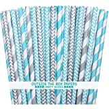 Outside the Box Papers Light Blue and Silver Stripe and Chevron Paper Straws 7.75 Inches 100 Pack Light Blue, Silver, White