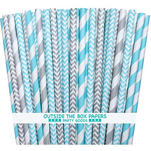 - Outside the Box Papers Light Blue and Silver Stripe and Chevron Paper Straws 7.75 Inches 100 Pack Light Blue, Silver, White