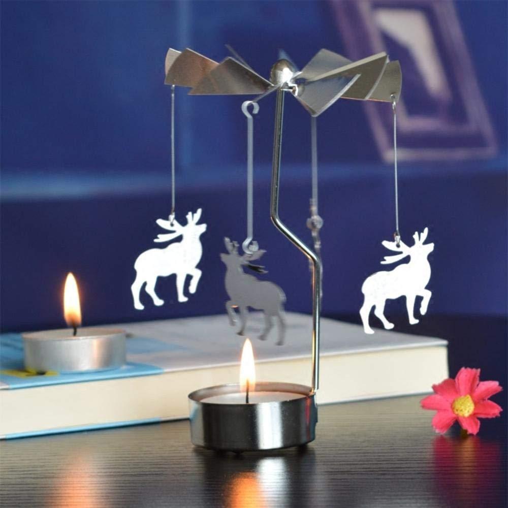 portacandele portacandele per Natale Anniversario di Matrimonio Decorazione della tavola Christmas Tree /Romantic Windmill Spinning giostra AOLVO girante portacandela con Candela/