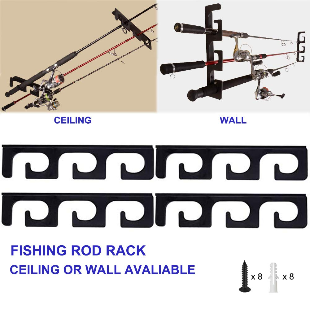 CAIKEI Ceiling Rod Rack Fishing Rod Rack Storage for Ceiling or Wall-Ultra Sturdy Strong Weatherproof Indoor and Outdoor Use