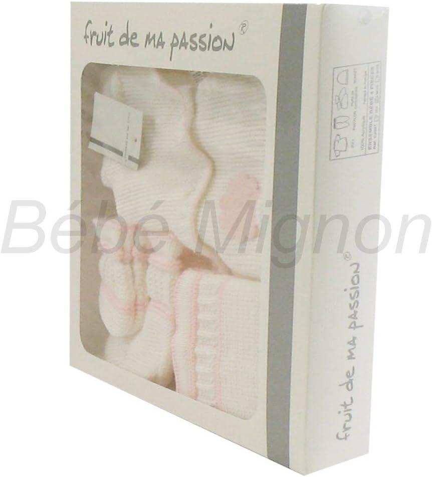 Coffret Naissance Brassi/ère 0 /à 3 Mois Blanc et Rose
