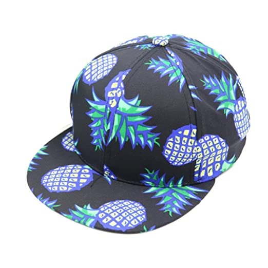 363128c7a72 coromose Pineapple Snapback Bboy Hat Adjustable Baseball Cap Hip-hop Hat  Unisex (Black)
