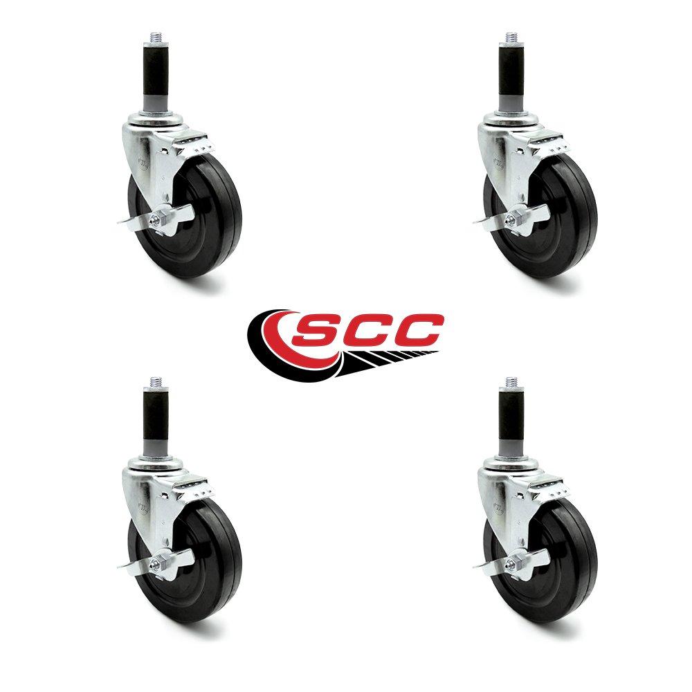 Service Caster - 5'' x 1.25'' Hard Rubber Wheel Swivel Casters w/1'' Expanding Stem w/Brake - Set of 4 by Service Caster (Image #4)