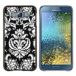 - WHITE ROYAL PATTERN BLACK ART WALLPAPER - Caja del tel¨¦fono delgado Guardia Armor- For Samsung Galaxy E7 E7000 Devil Case