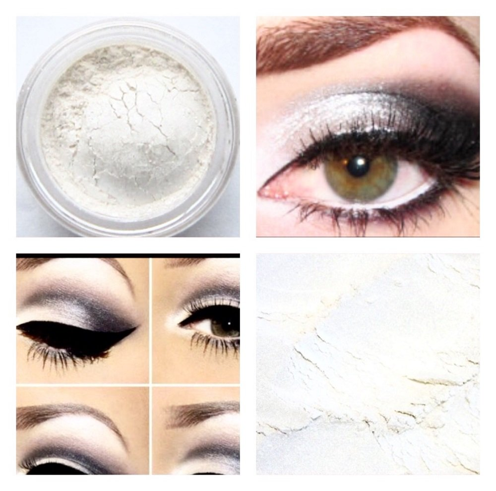 Pearl White Eyeshadow Shimmer Makeup loose Natural Mineral Mica Pearl Effect 5ml Pot