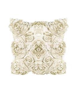Cosanter - 1 x Rose Fiori Design Federa per Cuscino Guanciale in Lino Divano Decorativo per la Decorazione Domestica, Soggiorno, Camera, da Letto, Divano (Bianco)