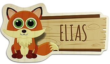 Turschild Aus Holz Mit Namen Elias Motiv Fuchs Namensschild
