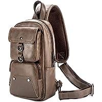 SPAHER Bolsos de Hombro de Pecho Cuero Crossbody Bolso de Hombro Bolsos de Mochila Messenger Bag Daypack para el Negocio…