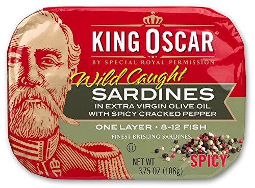 King Oscar Brisling Sardines - King Oscar Wild Caught Sardines in Extra Virgin Olive Oil, Spicy Cracked Pepper, 3.75 Ounce (Pack of 12)