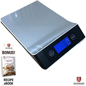 Godenzi Kitchen Scale with Hydroweigh, 10kg Capacity, 1g Division, Large Weighing Area, Highly Accurate Backlit Digital LCD, Tare, Coated Stainless Surface, Recipe Ebook & Batteries