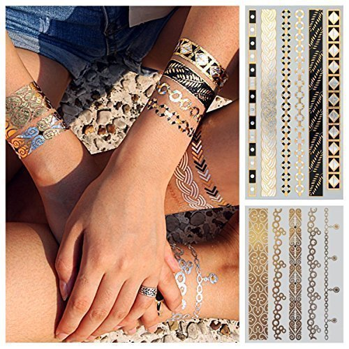 2-Sheets with Gold Flash Tattoos, Golden Skin Tattoos, Temporary Tattoos, Tattoo Jewellery, Double Set GLAMOUR (W106 + W165) by LK Trend & Style