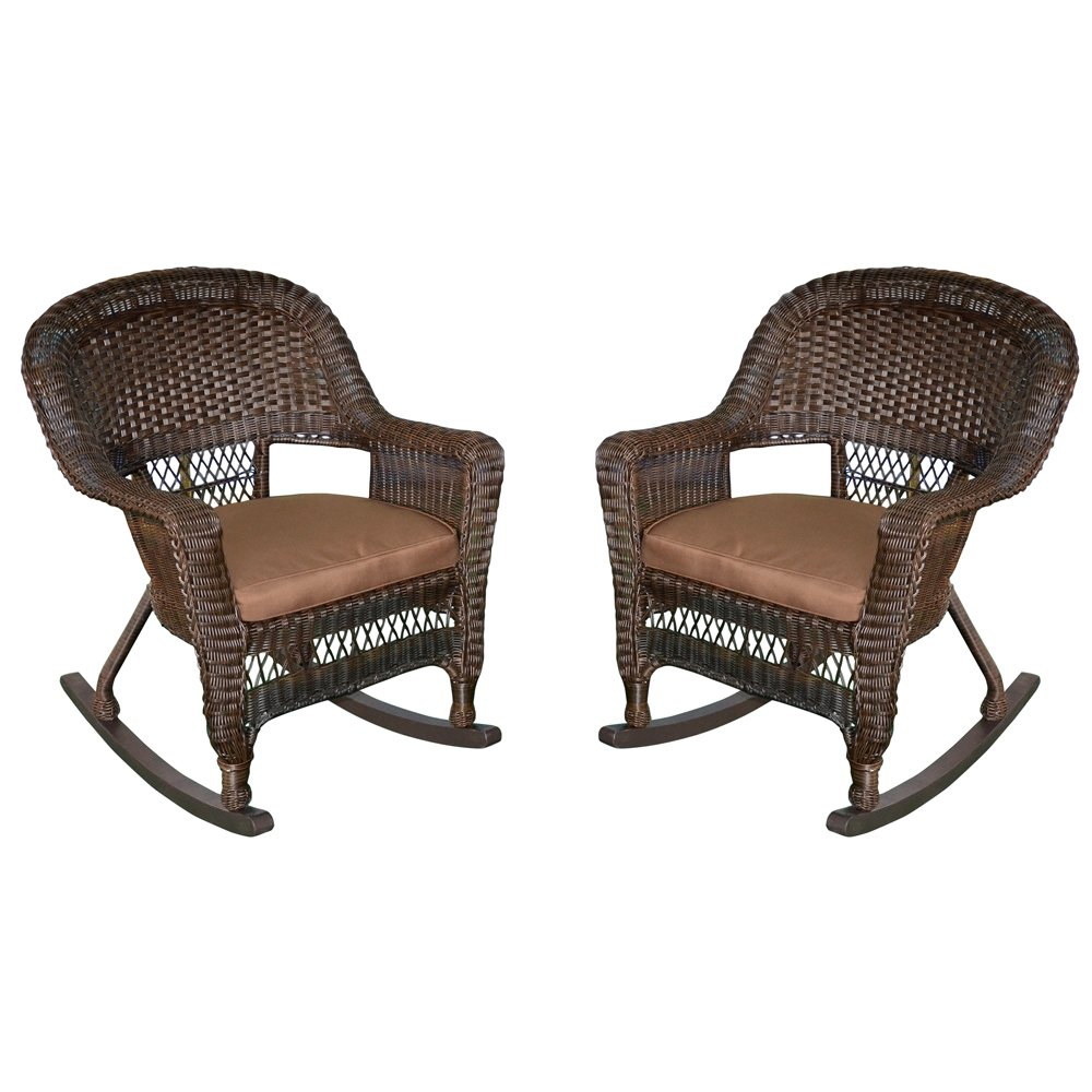 Jeco Rocker Wicker Chair with Brown Cushion, Set of 2, Espresso