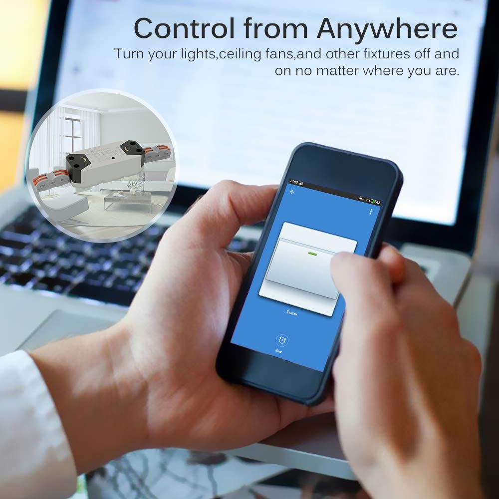 SmartLife APP Remote Control Switch Work with Alexa /& Google Voice Control for Household Appliances Support iOS 8.0 /& Android FORNORM Smart WiFi Switch 4 Pack No Screw Install