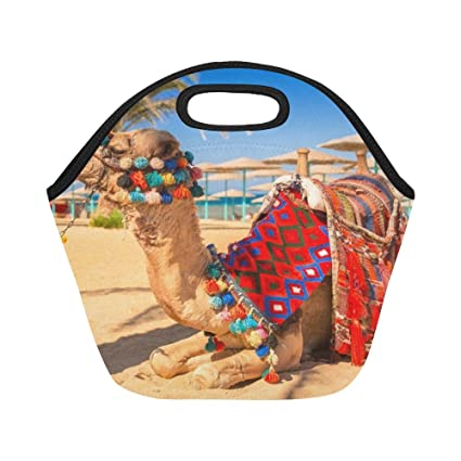 Insulated Neoprene Lunch Bag Camel Resting Shadow On Beach Hurghada Large  Size Reusable Thermal Thick Lunch 9d012a7e6d5da