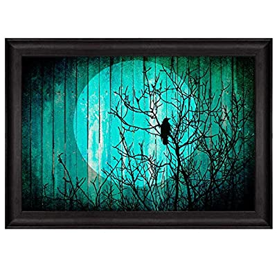 Illustration of The Silhouette of a Tree with a Crow Under The Moonlight Over Green Wooden Panels Nature Framed Art, Crafted to Perfection, Handsome Portrait