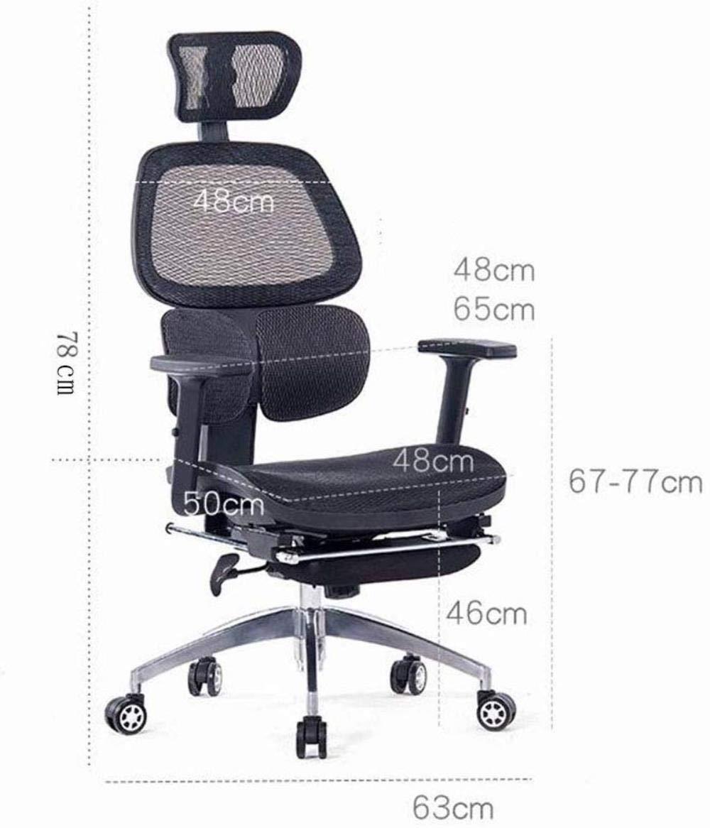 THBEIBEI Hem dator stol svängbar stol spelstol uppgift skrivbordsstol, ergonomisk vilstol kontorsstol datorstol midja stål fot andas nät (färg: svart) Röd
