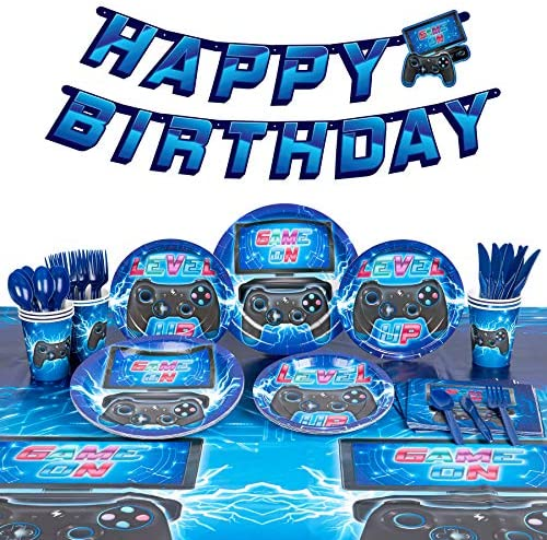 Decorlife Video Game Party Supplies, Gamer Birthday Decorations for Boys, 58pcs Serves 8, 54″ x 108″ Tablecloth, Pre-Strung Banner, Birthday Plates and Napkins, Cups, Knives, Spoons, Forks Included, for Gaming Decorations