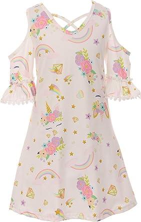 Amazon.com: Niñas pequeñas rayas volantes unicornio ...