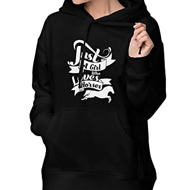 Just A Girl Who Loves Horses Hoodies Pullover Sweatshirt with Pocket for Women