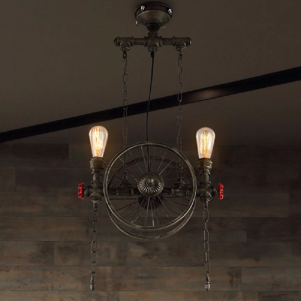 HQLCX Chandelier Loft Retro American Restaurant Bar Iron Wheel Pendant