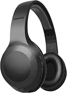 Promate Wireless Headphone, Powerful Deep Bass Bluetooth v5.0 Headphone with MicroSD Playback, 3.5mm Wired Mode, Hi-Fi Stereo Sound, 5H Playtime, Built-In Mic and Control for Smartphones, LaBoca Black