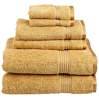 Superior Collection 100% Premium Long-Staple Combed Cotton 6-Piece Towel Set, Gold