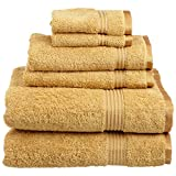 best colors for bathrooms Superior 100% Long Staple Combed Cotton Towel Set, 6 Piece, Gold