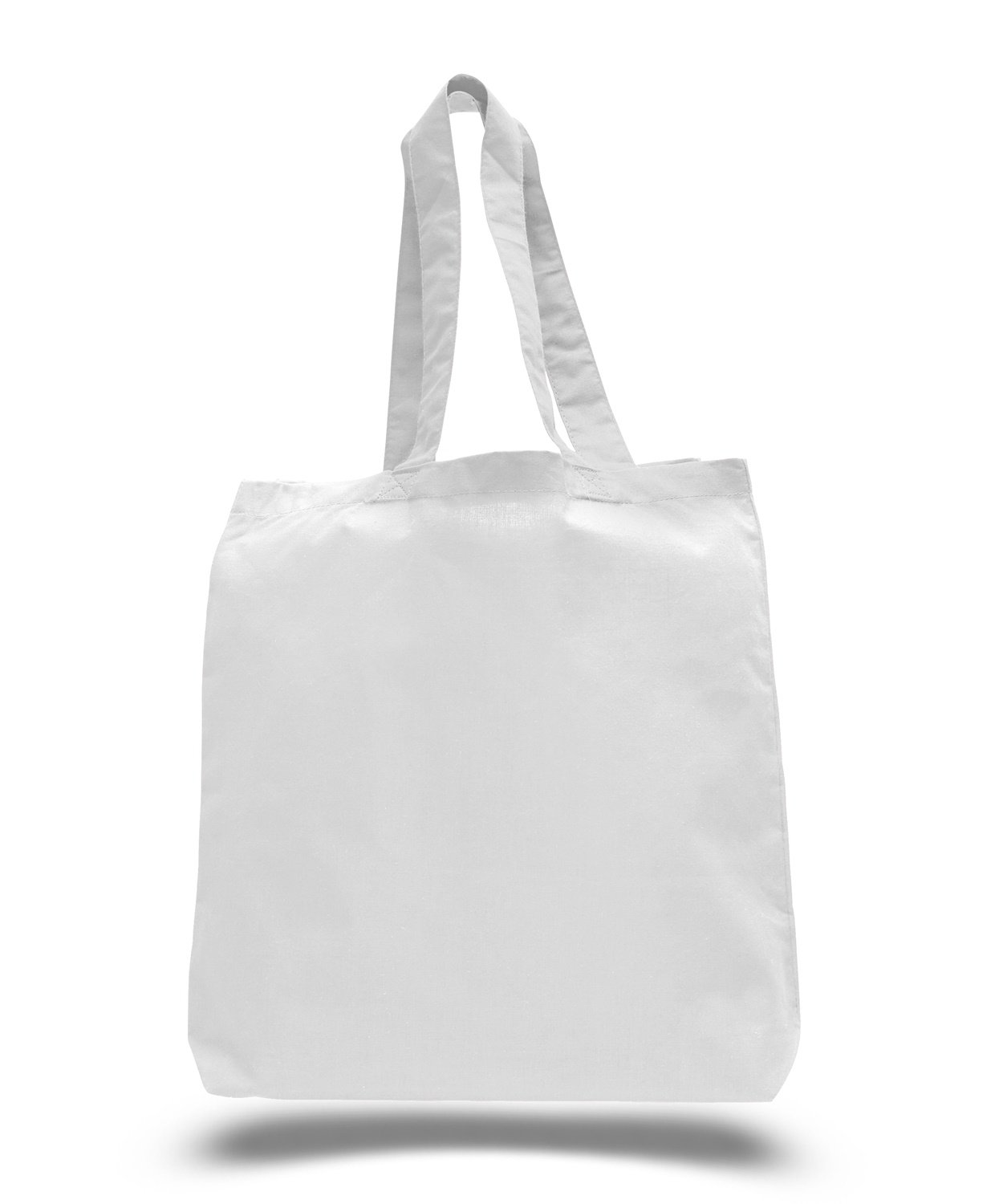 (White)(3 Pack) Set of 3 Cotton Tote Bags Wholesale with Bottom Gusset (White) B011D5EZRO ホワイト ホワイト