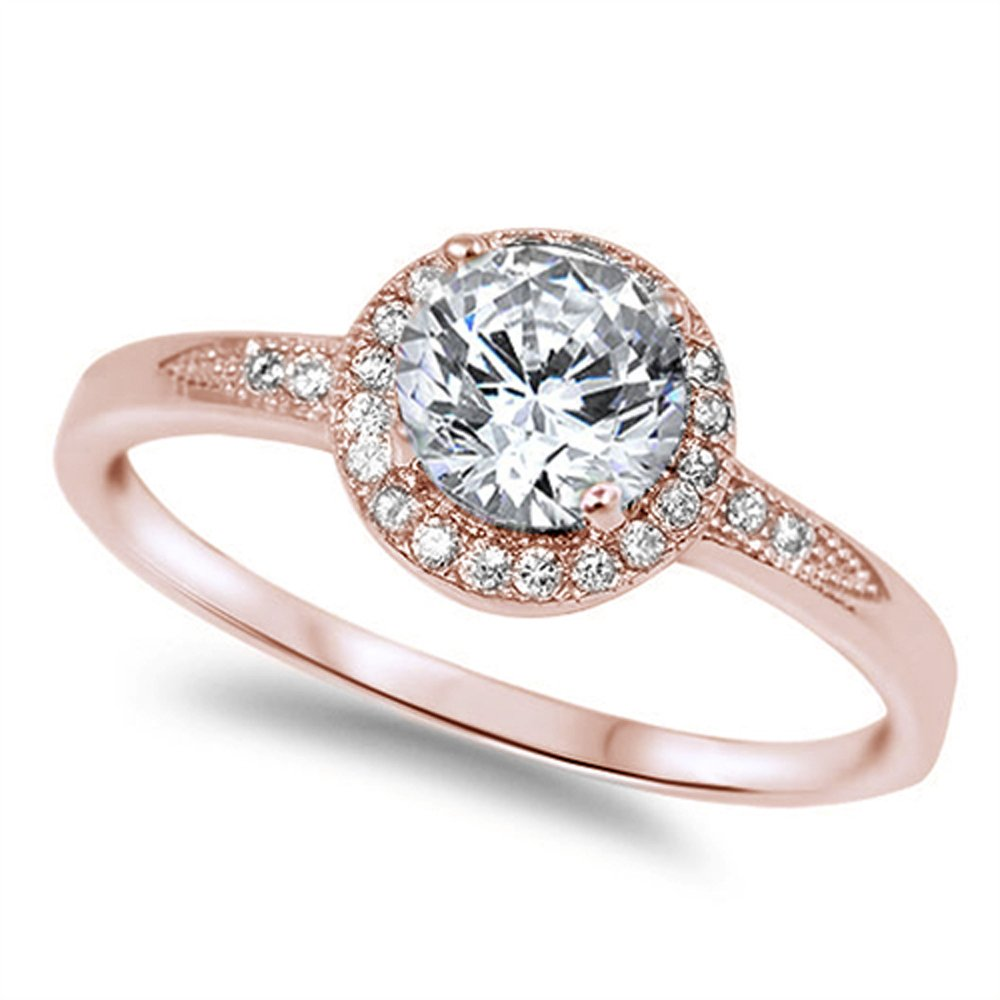 Halo Style Rose Gold Plated .925 Sterling Silver Ring Size 7