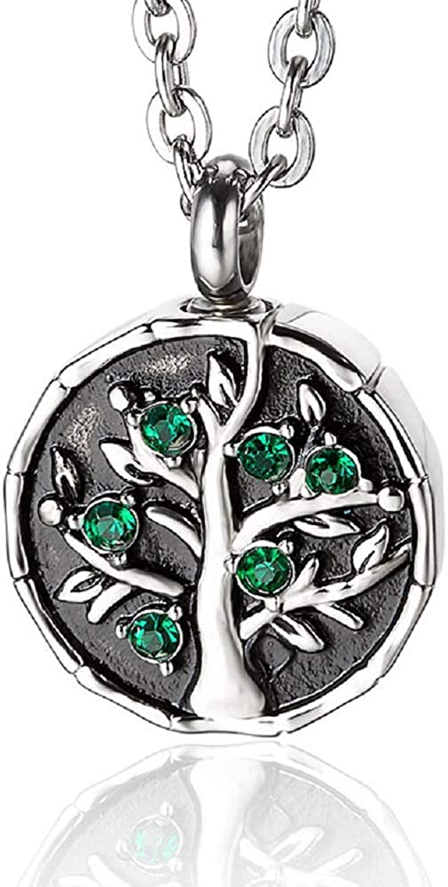 Heartfelt Green Tree On Round Cremation Jewelry Necklace Urn Memorial Keepsake Pendant for Ashes with Funnel Fill Kit
