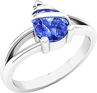Solitaire 925 Sterling Silver Pear Cut Tanzanite Yellow Gold Plated Ring