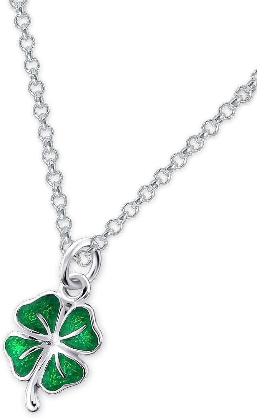 Laimons Colgantes con collar para mujer Trébol Brillante Verde Plata de ley 925