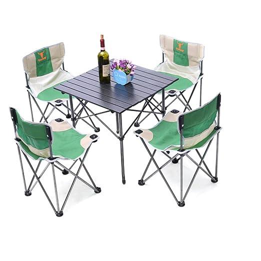 HUKOER Cinco Juegos de mesas y sillas Plegables al Aire Libre al ...