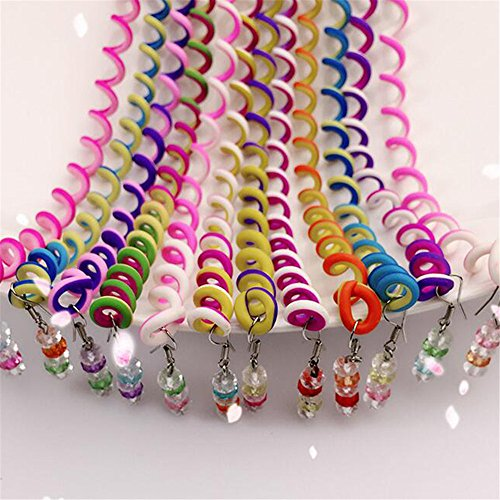 Wispun Pack of 12 Fashion Colorful Women Baby Girl Hair Styling Twister Clip Hair Decorations Headwear with Crystal Pendant DIY Braider Tool(Random Color) (Decoration Girl Hair)